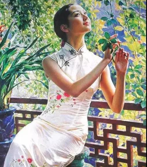 油畫中的旗袍美人, 如詩的美!