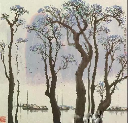 溪水落葉隨風去,咿擎紙傘赴情約,迷離飄渺林雨間,夕紅染指心間木。