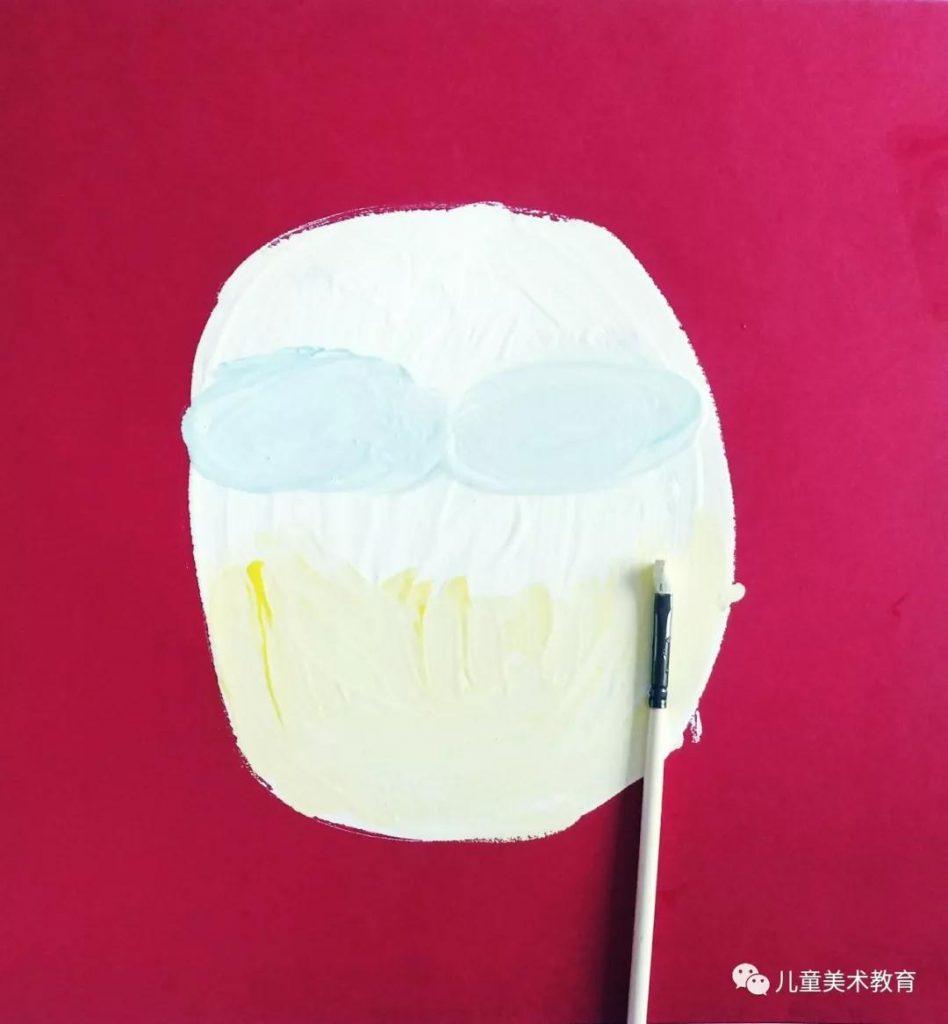 第二步:畫出小丑的臉部裝飾。吹乾