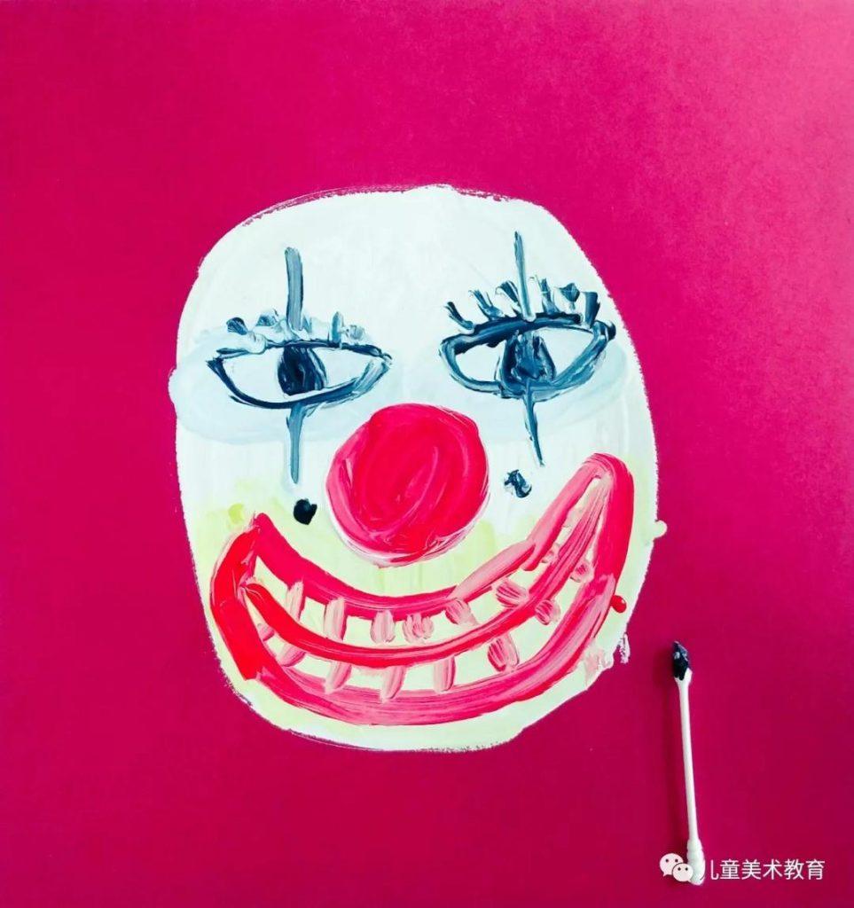 第四步:畫出小丑的眼睛和眼部細節裝飾。