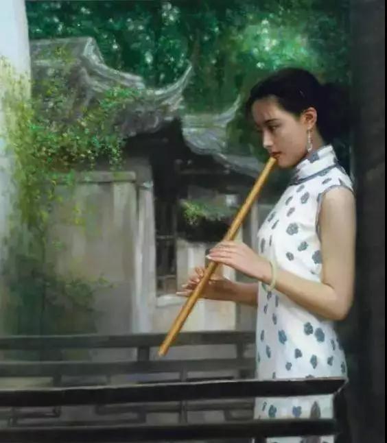古典油畫旗袍