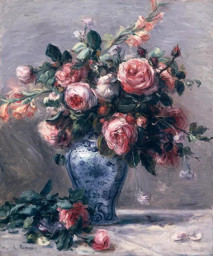 靜物,花卉,油畫