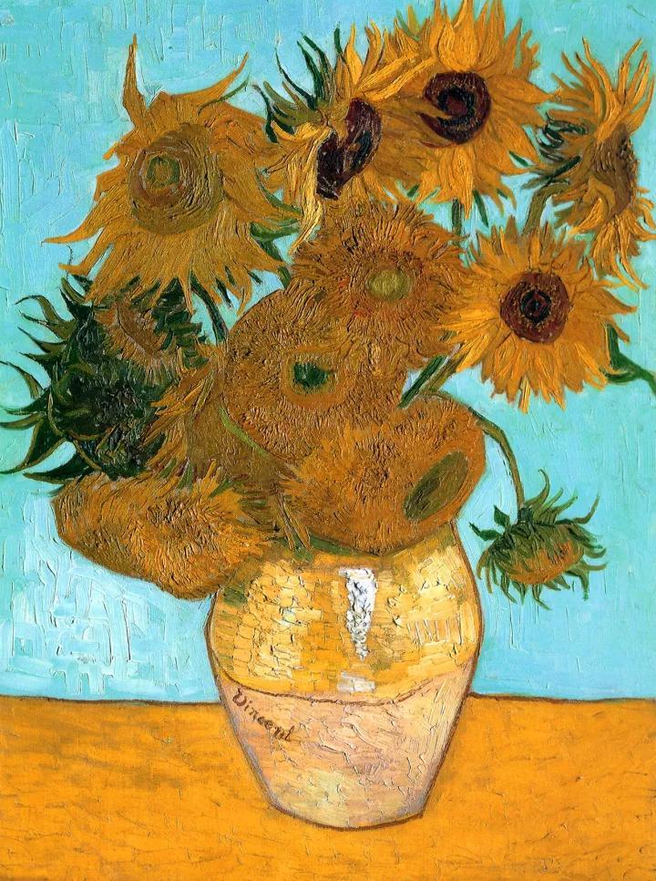 文森特·梵高,花瓶裡的十二朵向日葵,1888