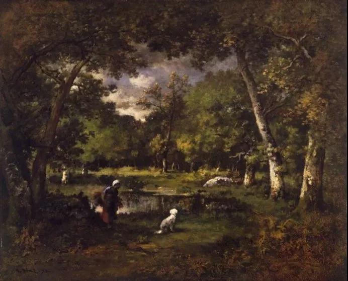 池塘在楓丹白露森林風暴