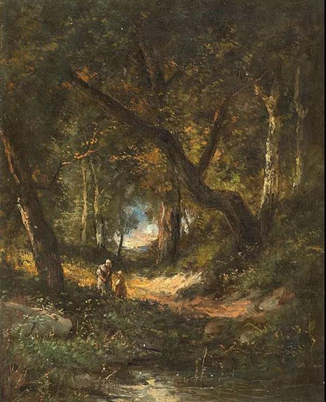 母親和孩子在森林中