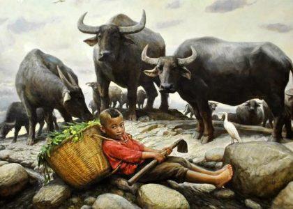 李自健油畫作品,看了回憶起童年。