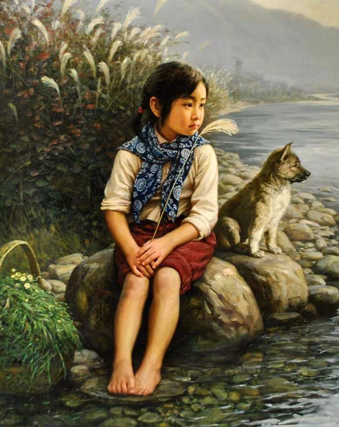 小狗陪伴河邊憧憬